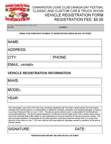 Cannington Lions Club Canada Day Car Show - Blank car show flyer